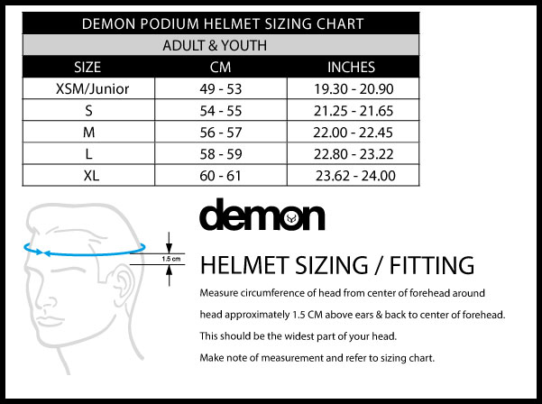 Demon Podium Sizing Chart