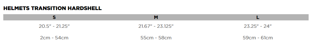 Fox Head Transition Hardshell Sizing Chart